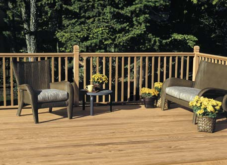 wood deck with seating