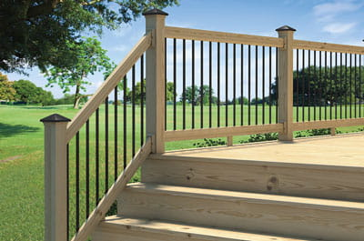 Aluminum balusters with solar post caps