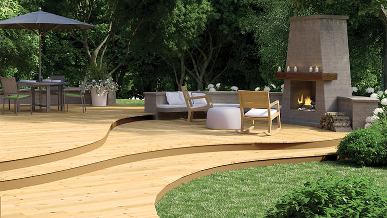 ProWood curving wood deck with outdoor fireplace