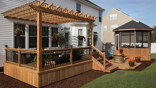 outdoor deck, pergola and gazebo made with ProWood Dura Color pre-stained lumber