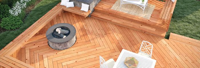 ProWood Dura Color decking with game and fire pit