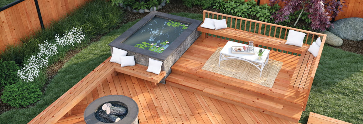 ProWood Dura Color decking with pond and lounge space