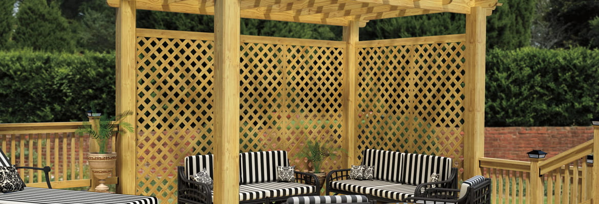 Lattice privacy screen made with ProWood pressure-treated wood lattice