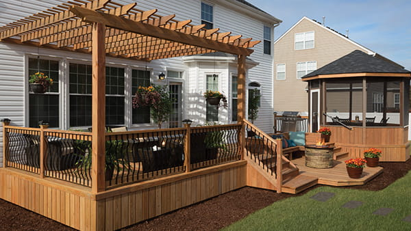 Deck and pergola built with ProWood Dura Color pressure treated lumber