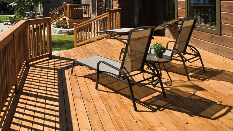 Deck built with ProWood Reserve pressure treated kiln dried decking